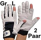2 Paar BluePort Damen Herren Segelhandschuhe Gr. L / 9 aus Leder - 2 Finger frei