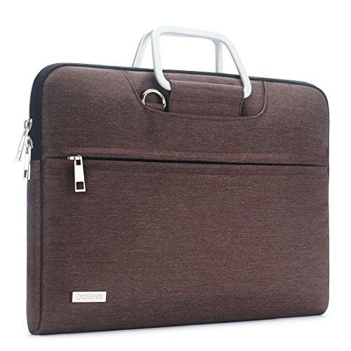 """DOMISO Wasserdicht Hülle Carry Tasche Schultertasche für 13 - 13.3 zoll Laptops / Apple MacBook Air & Pro / 13.3"""" Lenovo Yoga 720 / 13.3"""" ASUS ZenBook UX330UA mit Polyestergewebe und Tragegurt (Braun)"""