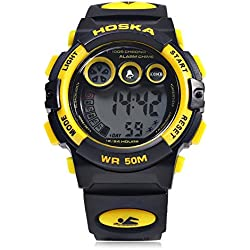 Leopard Shop HOSKA H002S Kid Sports Digital Watch with Day Chronograph LED Light Wristwatch Water Resistance Yellow Black