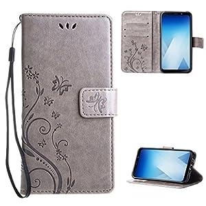 Samsung-Galaxy-A8-2018-Hlle-Leathlux-Vintage-Blume-Muster-Premium-PU-Leder-Schutzhlle-Bookstyle-Tasche-Schale-TPU-Case-mit-Trageschlaufe-Standfunktion-fr-Samsung-Galaxy-A8-2018-Grau