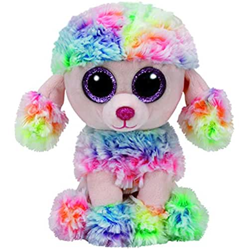 peluches TY - Beanie Boos Rainbow, caniche, 15 cm, multicolor (United Labels Ibérica 37223TY)