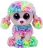 TY 37223 - Glubschis Beanie Boos Rainbow Pudel mit Glitzeraugen, 15 cm, mehrfarbig