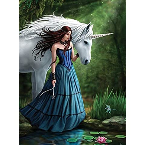 Enchanted Pool -Gothic Portrait Of Fairy Princess with Unicorn by Pond / Lake - Fantastic Design by Artist Anne Stokes - Canvas Picture on Frame Wall Plaque / Wall Art by ANNE STOKES