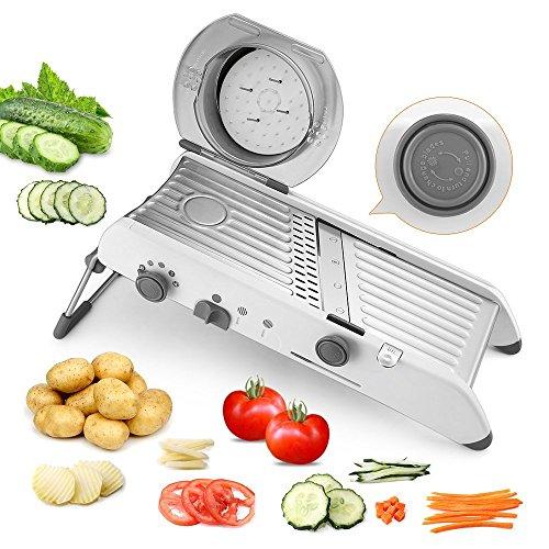 Gemüsehobel Mandoline PAVLIT All-In-One Gemüseschneider Schneider Handschutz Multifunktion Gemüsehobel mit Verstellbarem Edelstahlmesser Kartoffelschneider Obstschneider BPA frei und spülmaschinenfest