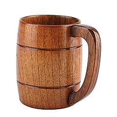 Idea Regalo - GLOGLOW Boccale di birra in legno, tazza di birra in legno naturale Retrò grande capacità di acqua del tè Classico in legno bere boccale con manico in legno Tankard regalo di nozze Boccale di birra