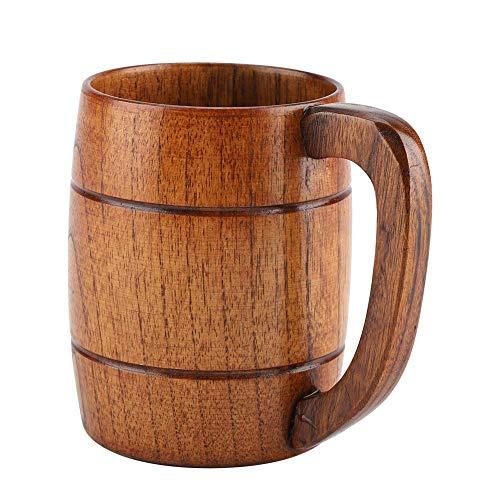 GLOGLOW Holzbierkrug, natürliche Holzbierschale Retro große Kapazität Teewasser Classic Holztrinkbecher mit Henkel Holzkrug Hochzeitsgeschenk Bierkrug