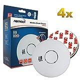 4X Nemaxx HW-2 Detector de Humo y de Calor - Detector de Incendios - Detector de Humo conectable en Red con Sensor térmico Conforme la Norma DIN EN 14