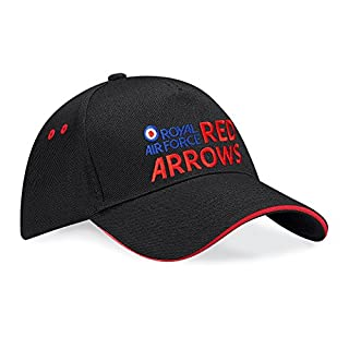 Red Arrows Embroidered Logo Contrast Baseball Cap (Black/Red, Adults)