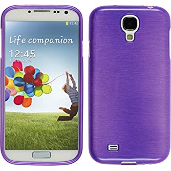 PhoneNatic Case für Samsung Galaxy S4 Hülle Silikon lila brushed Cover Galaxy S4 Tasche Case