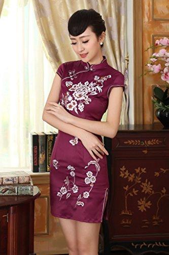 Bigood Qipao Broderie Femme Robe Chinoise Cheongsam Papillon Fleur Elégant Style A