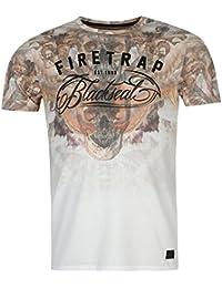 Firetrap Mens Moth T Shirt Tee Top Crew Neck Short Sleeve Print Regular Fit