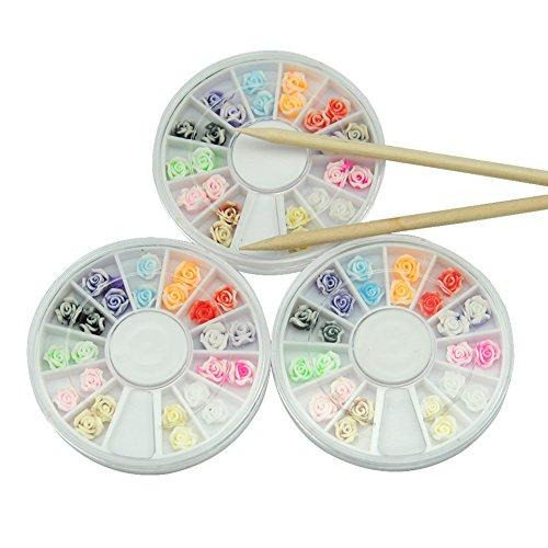 Mode Galerie 3x boite decoration strass glitter 3D pour ongles gel fleur avec 2pcs bâton