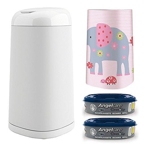 Preisvergleich Produktbild Angelcare® Dress-Up Starter-Set: Windeleimer + 2 Nachfüllkassette + Dress-Up Bezug Elephant Family