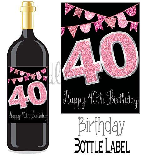 henetikett zum 40. Geburtstag Wein... pink glitter (Glitter Wein)