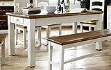 Esstisch, Tisch, Küchentisch, Esszimmertisch, Holztisch, rechteckig, Recyclingholz, Massivholz, weiß, honigfareben, Kiefernholz, Schublade