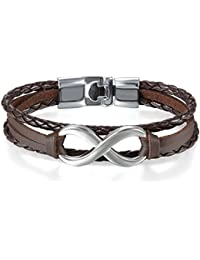 JewelryWe Joyería Pulsera Infinito Infinity Pulseras para Parejas Enamorados Hombre Mujer, Cuero Trenzada Clásico Regalo de La Amistad 20cm