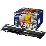 Samsung CLT-P406C/ELS Original Toner (C/M/Y/K) - Value Pack (Kompatibel mit: CLP-360/CLP-365 CLX-3300/CLX-3305/ C410W C460W C460FW)