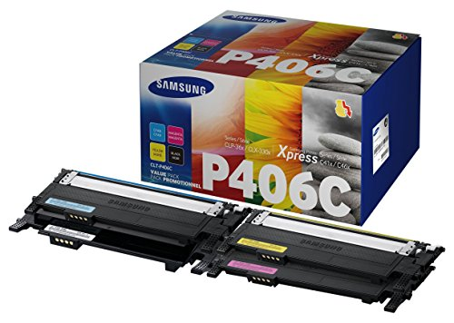 Samsung CLT-P406C Original Toner (C/M/Y/K) - Value Pack (Kompatibel mit: CLP-365 CLX-3300/CLX-3305/C410W C460W C460FW) (Color Value Pack)