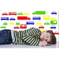 Broomsticker Toy Cars And Buses - 21 Colourful Wall Sticker For Kids Room/Nursery (Large: 60cm x 90cm)