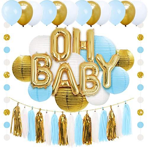 Nicrolandee OH Baby Folienballonbanner Gold Pink Weiß rund Papierlaterne Seidenquaste Girlande Party Ballon Polka Dot Hängende Schnur Dekoration für Babyparty blau (Pink Und Gold Dekoration)