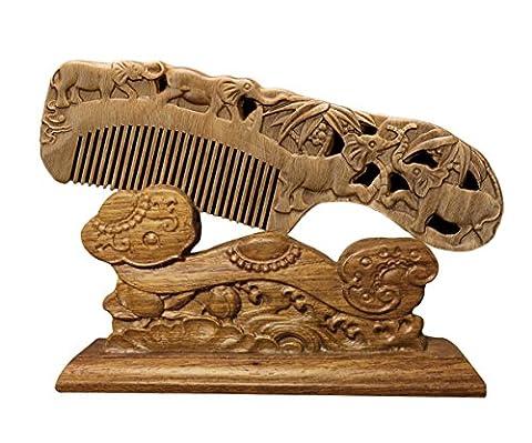 Icegrey Natural Handmade Engraving Elephants Sandalwood Hair Comb Beard Brush Rake Comb