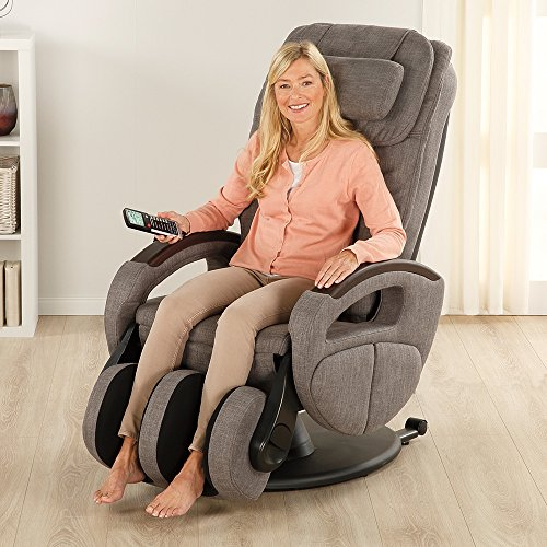 Massagesessel »Komfort Deluxe« mit Shiatsu-Massagefunktion und Transportrollen Relaxsessel (Stoff graumeliert) (360 Fuß-massagegerät)