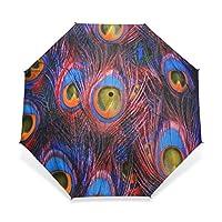 EnnE Umbrella Peacock Feather Umbrella Rain Windproof Folding Umbrella Sun Easy Carrying Travel Compact Umbrella Lightweight