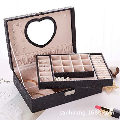 MCYYY Box 2019 New Design Pu-Leder Schmuckschatulle Doppel-Holz-Box Prinzessin Schmuck AufbewahrungsBox Kosmetik-Box Sehr zu empfehlenSchwarz -