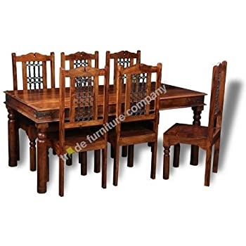Jali Indian Furniture Dining Table 6 Jali Chairs Dining Room