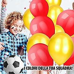 Idea Regalo - kina 50 Pezzi Palloncini Rotondi 11 Pollici in Lattice Colori Giallo e Rosso per Feste Compleanno, Bambini, Squadra Calcio