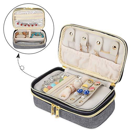 Luxja Reise-Schmuck Etui, Etui für Schmuckaufbewahrung, Doppelte Fächer Schmuckkästen für Ringe, Halsketten, Armbänder und Ohrringe, Grau