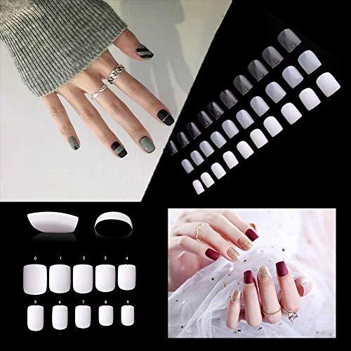 (Künstliche Fingernägel, kurz, quadratisch, 600 Stück, vollständige Abdeckung, Acryl, künstliche Nägel, für Nagelstudios und DIY-Nagelkunst, 10 Größen (Natur))