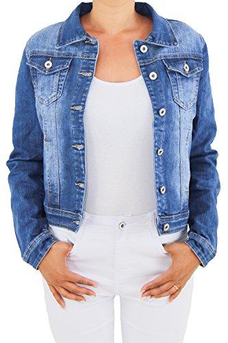 Damen Jeansjacke Damenjacke Kurze Denim Stretch Jeans Jacke Übergangsjacke Blau NP015 XL/42