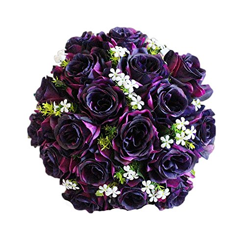 Preisvergleich Produktbild Künstliche Blume Migaretin Deko Kunstblumen Künstliche Rose Silk Blumen 18 Blüte Blatt Garten Hochzeitsblumenstrauß für Haus Garten Party Blumenschmuck Bridal Bouquet Party Home Decor Blume (E)