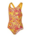 Speedo Mädchen Fusion Fun Allover Splashback Swimwear, Jaffa/Electric Pink/Lime Punch, 164