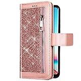 Uposao Cover Compatibile con Samsung Galaxy A60 Cover Bling Luccichio Pelle Caso con 9 Porta Carte, Flip Chiusura Magnetica Supporto Copertura con Tasca Cinturino,Oro rosa