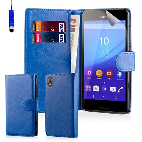 32nd® Schutzhülle handytasche im Brieftaschenstil aus PU-Leder, für Sony Xperia M5, inklusive displayschutzfolie, reinigungstuch und eingabestift - Blau