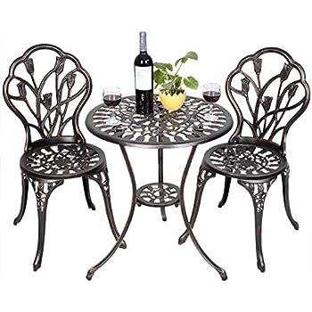 COSTWAY Ensemble Bistrot pour Jardin en Aluminium Salon de Jardin 2 Chaises  et 1 Table pour Balcon, Terasse et Jardin 59, 5 x 59, 5 x 67, 5 cm Cuivré