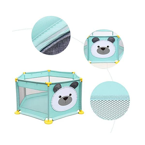 Baby Playpen Activity Centre Children Safety Fence Play Yard Game Playpen Fence for Home Indoor Outdoor Playing Per Material: ABS corner PVC connector Oxford cloth Mesh Size: height 65cm/25.59inch, length 142cm/55.9inch Age: 5 months to 3 years old 15