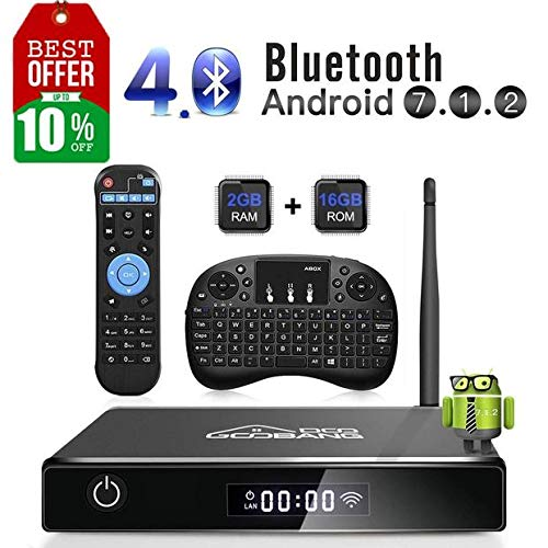 GooBang Doo Android 7.1 Smart TV Box, 2018 XB-III Boîtier TV 2Go RAM 16Go ROM Quad Core Réel 4K H.265...