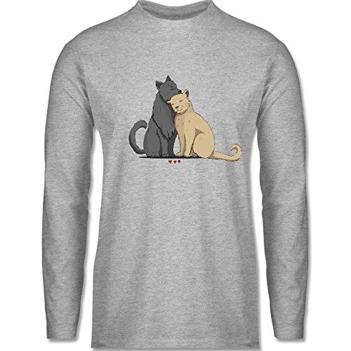 Shirtracer Katzen - Kuschelnde Katzen - Herren Langarmshirt Grau Meliert