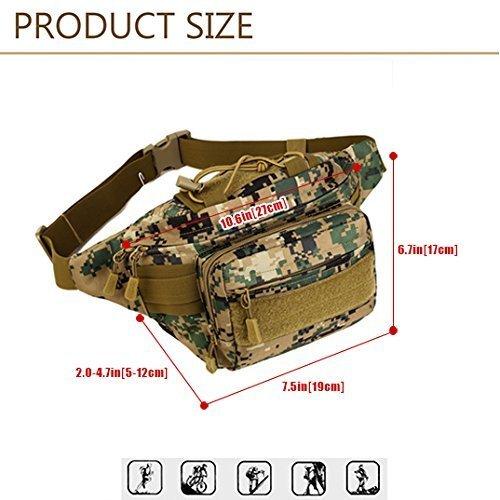SUNVP Tactical Military Fanny Pack Gürteltasche Wasserdichte Taille Tasche Hüftgürtel Tasche zum Wandern Camping Running Climbing Jungle Camouflage