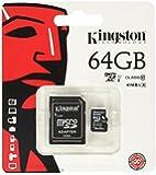 Kingston 64 GB UHS Class 1/Class10 microSDXC UHS-I Flash Memory Card (microSDXC to SD Adapter Included)