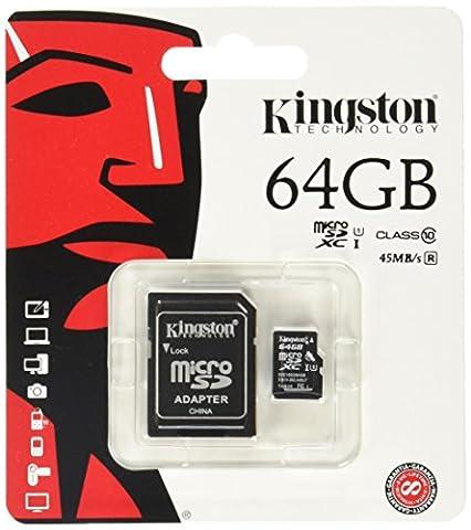 Kingston SDCX10/64GB Carte micro SDHC/SDXC Classe 10 UHS-I de 64Go vitesse minimum de 10MB/s avec adaptateur SD
