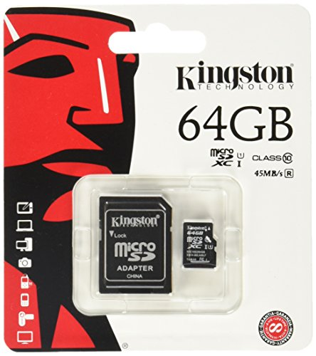 Kingston SDCX10/64GB Carte micro SDHC/SDXC Classe 10 UHS-I de 64Go vitesse minimum de 10MB/s avec adaptateur SD