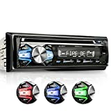 XOMAX XM-CDB618 Car Stereo with CD-Player + Bluetooth Hands-free & music transfer + USB port (plays up to 128 GB) and SD-card-slot (plays up to 128 GB) for MP3 & WMA + 3 light colours adjustable: Blue, Red, Green + AUX-Input + FM radio + Single DIN / 1-DIN standard dimensions + Anti-theft measure: removable front panel + futuristic design: carbon look + incl. remote control, protective case, trim and cage