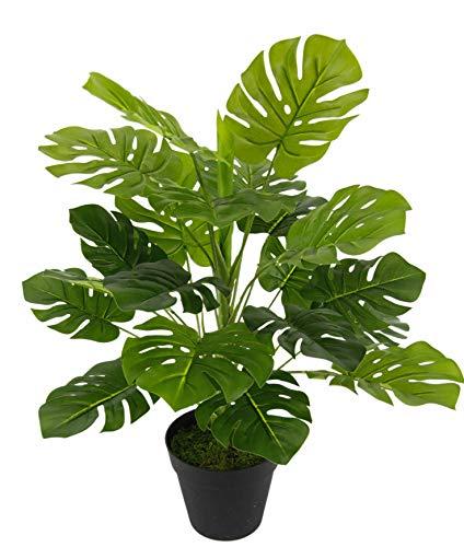 Flair Flower 020698GN Splitphilo Topf, Kunst, Seidenblumen, Real Touch, grün, Kunstpflanzen, künstliche Pflanzen, Splitphilopflanze, Dekopflanze, groß, 53 cm, 26x53x26 cm