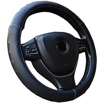 Semoss Universal Leather Steering Wheel Cover Black with Blue Line Anti Slip Car Steering Wheel Cover Wrap,Size:M,37-38 cm