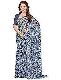 Ishin Women's Faux Georgette Saree With Blouse Piece (Ishin-20128,Blue,Free Size)