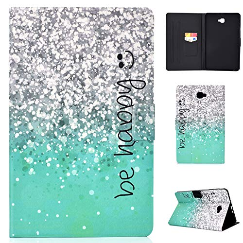 Lspcase Custodia Samsung Tab A6 10.1, Galaxy Tab A6 PU Leather Folio Case, Portafoglio con Silicone Interno Case e Porta Carte per Samsung Galaxy Tab A6 Pollice SM-T580 T585 2016 Be Happy